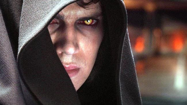 Hayden Christensen prepares to hide his face in shame.