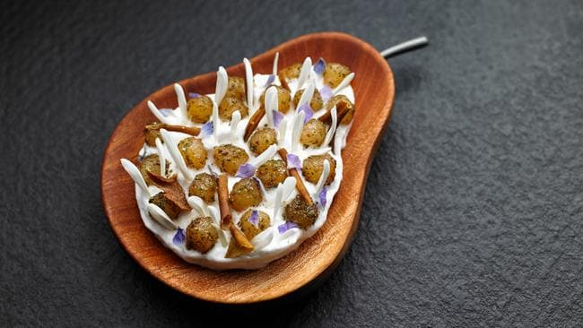 The pears and maidenii dish at Melbourne's Attica restaurant, which has made the World's 50 Best Restaurants list.