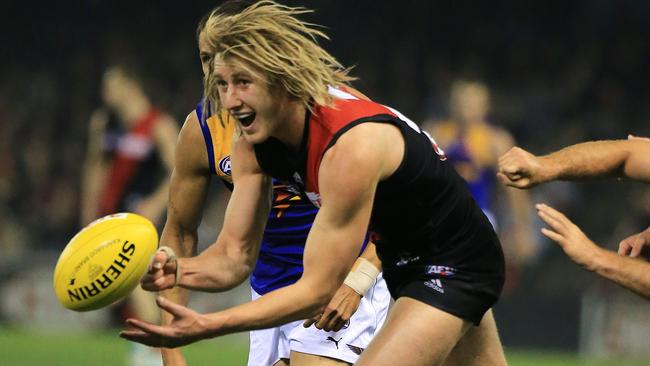 Dyson Heppell was everywhere for Essendon in the second half. Picture: Alex Coppel.