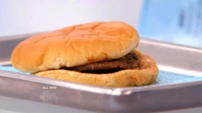 The 14-year-old McDonald's burger. Picture: Screengrab, The Doctors