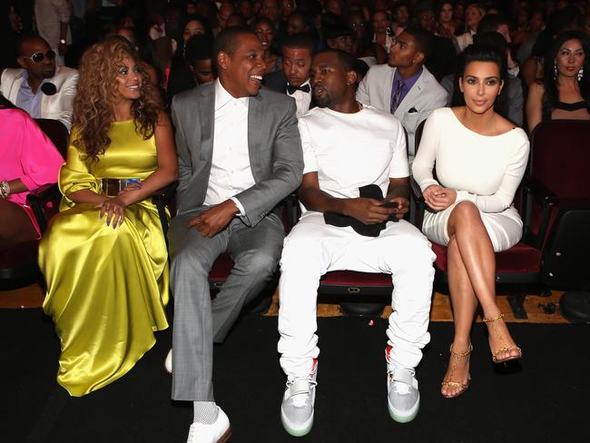 Beyonce, Jay-Z, Kanye West and Kim Kardashian looking friendly in 2012.