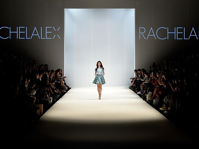 A model walks the runway in a design by RACHELALEX at the New Generation show during Mercedes-Benz Fashion Week Australia 2014.