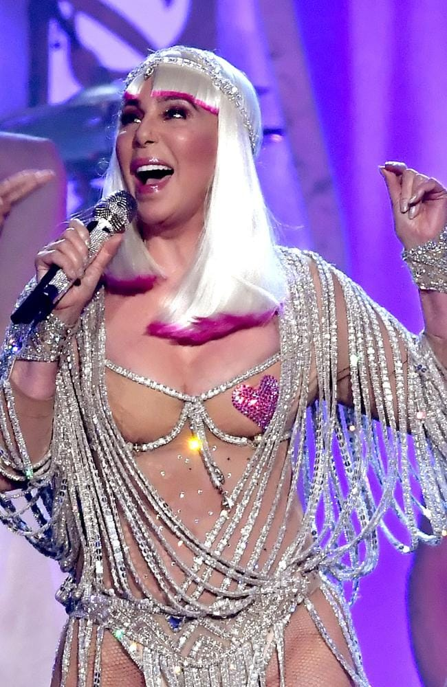 Cher performs Believe at the 2017 Billboard Music Awards in a near-nude leotard. Picture: Getty/AFP