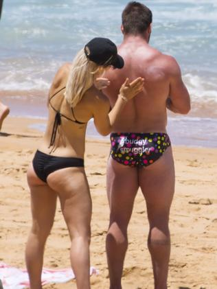 Frances Abbott and fiance Sam Loch were spotted exercising and swimming at Sydney's Palm Beach. Picture: Matrix Media Group