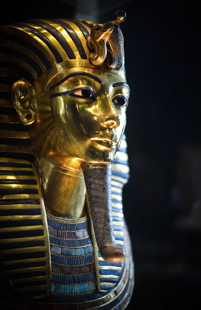 Restoration ... A picture taken early this year of the burial mask of Egyptian Pharaoh Tutankhamun at the Cairo museum in the Egyptian capital. A 'botched' repair of the mask left a crust of dried glue on the priceless relic. Source: AFP