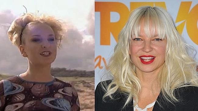 A very 90s Sia performs on Home and Away, and right: the Sia of 2014.