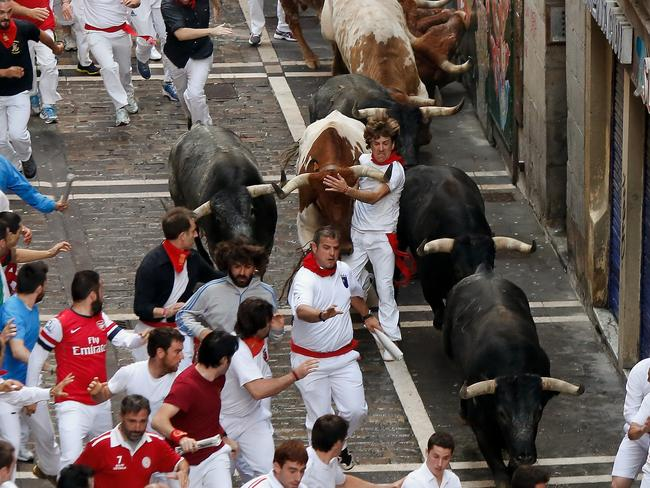 Revellers in the Running Of The Bulls festival in Pamplona, Spain. Picture: Getty