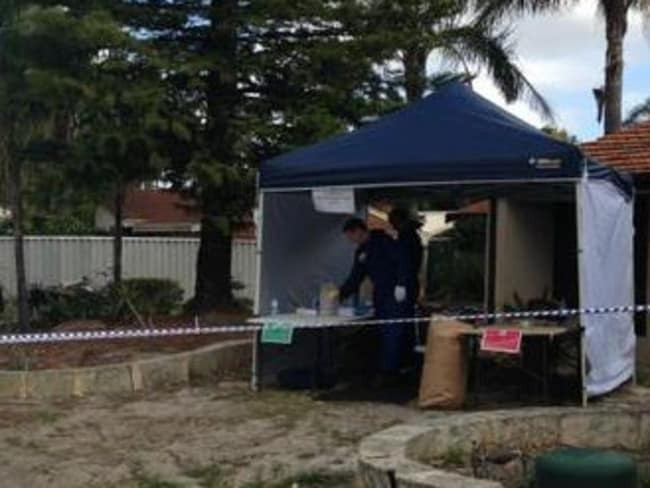 Police forensic teams at the Alexander Heights home. Picture: Nine News/Perth.