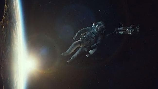 Drifting ... the astronauts cut loose from the space station in the film. Picture: Supplied