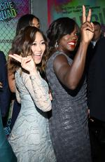 Karen Fukuhara and Viola Davis give the peace sign as they attend the Suicide Squad world premiere on August 1, 2016 in New York City. Picture: AP