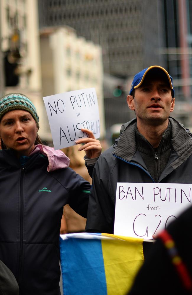 Demonstrators in Sydney made plain their feelings about Russian President Vladimir Putin visiting Australia for the G20 leaders summit in Brisbane in November. Picture: Saeed Khan