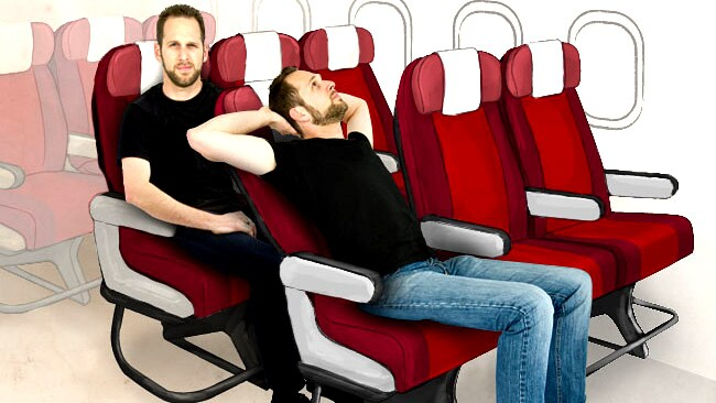 Seat reclining is a common mile-high gripe. Graphic: Eric Auld