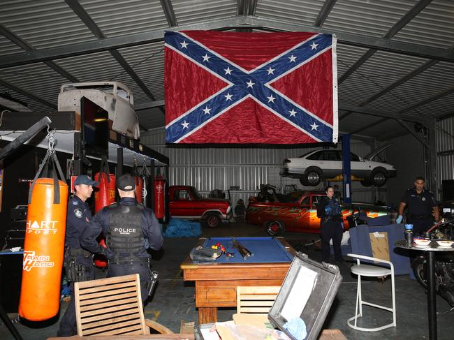 Inside the Rebels Outdoor Motorcycle Gang clubhouse on Gympie Rd in Lawnton.