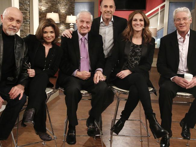 Pretty woman cast ... (l-r) Hector Elizondo, Laura San Giacomo, director Garry Marshall, US Today host Matt Lauer, Julia Roberts and Richard Gere. Picture: Getty