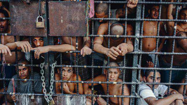 MS-13 gang members languish in 'gang cages' in El Salvador. Picture: Giles Clarke/Getty Images