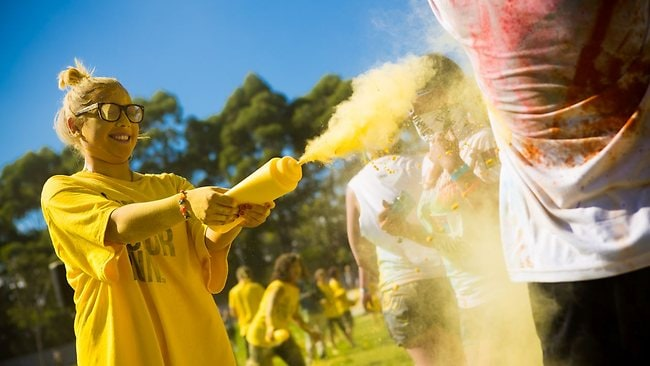 A volunteer administers the coloured powder during the yellow stage. Picture: MJC Wilkie Productions.