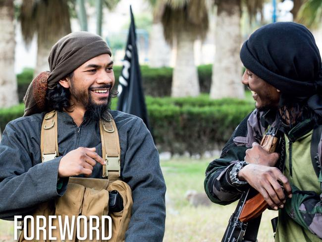 Australian citizen Neil Prakash who has been identified as a key recruiter for Islamic State, as he appears in Dabiq (magazine of Islamic State). Prakash is also known as Abu Khalid al-Cambodi.