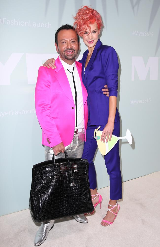Colourful fashion identities: Make-up maestro Napoleon Perdis and Kate Peck at the Myer show.