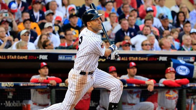 Jeter bats against the National League All-Stars during the 85th MLB All-Star Game.