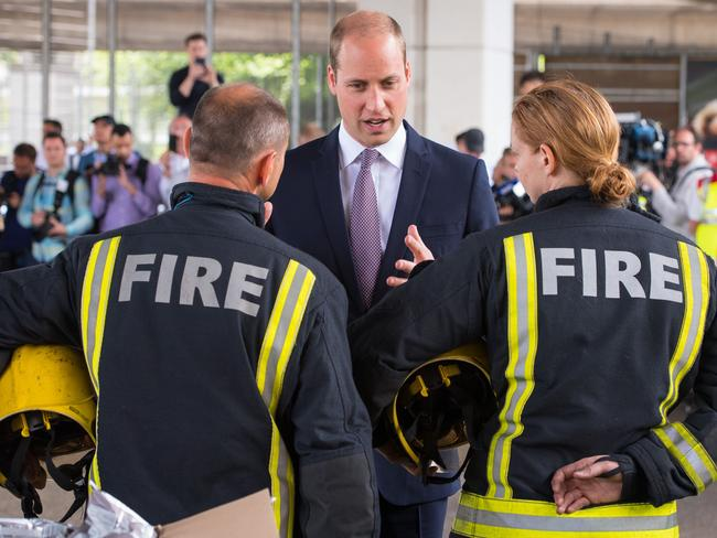 Prince William meeting firefighters at the Westway Sports Centre. Picture: Getty Images