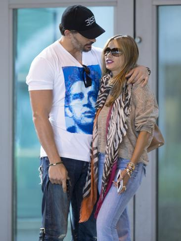 Genetically blessed pair True Blood's Joe Manganiello and Modern Family's Sofia Vergara are Hollywood's newest item. Spotted here about to go on their first vacation together. Picture: Splash