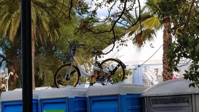 This bike was spotted on top of some portable toilets in Prahran. Picture: Imgur