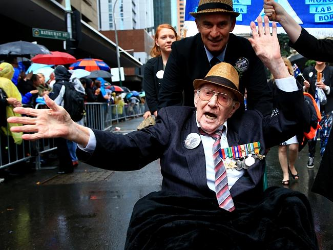 Gordon Dodd during the Anzac Day march in Sydney as the diggers marched up George street to a crowd of thousands despite the rain. Picture: Adam Taylor