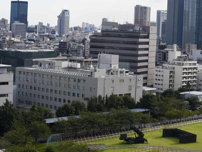 A Japanese Self-Defence Force Patriot Advanced Capability-3 (PAC-3) missile launcher is seen at its position in the Defence Ministry headquarters in Tokyo today. Picture: AFP