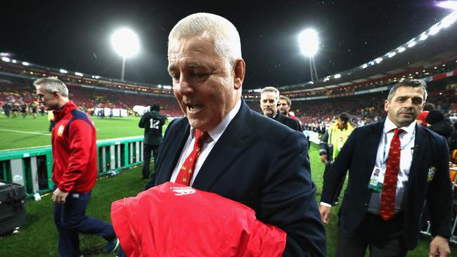Warren Gatland, the Lions coach, celebrates after his team's victory at Westpac Stadium.