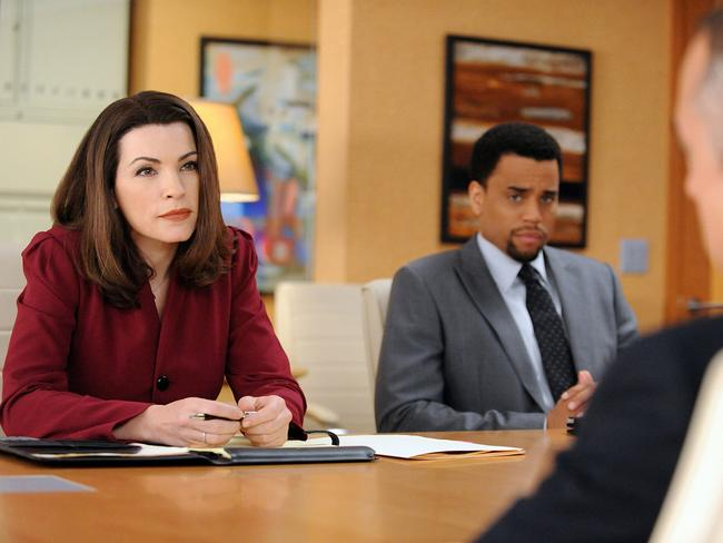 Julianna Margulies, Titus Welliver and Michael Ealy in an episode of  <i>The Good Wife</i>.