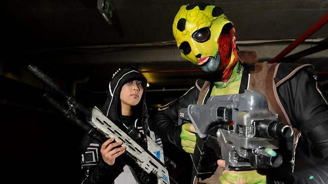 Frances Foo and Luke Robinson in their Mass Effect 2 characters at the Supanova Cosplay Festival in Brisbane. Picture: Paul Guy
