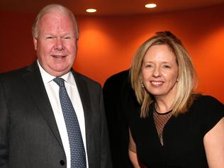 Mike Smith with Helen McCabe at the pre-budget shindig. Picture: Kym Smith