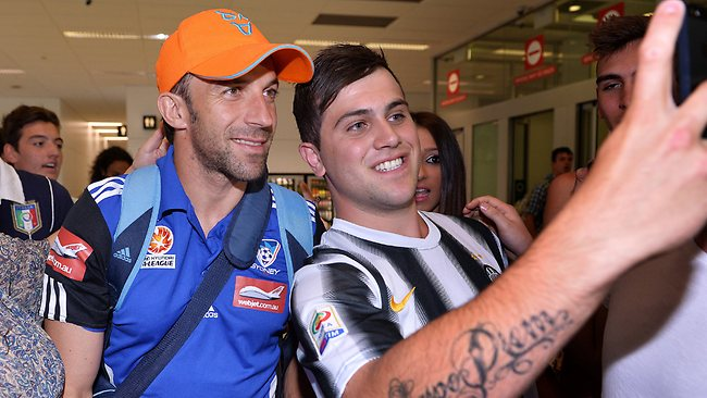 Sydney FC star Alessandro Del Piero is greeted by fans at Melbourne Airport. Picture: George Salpigtidis