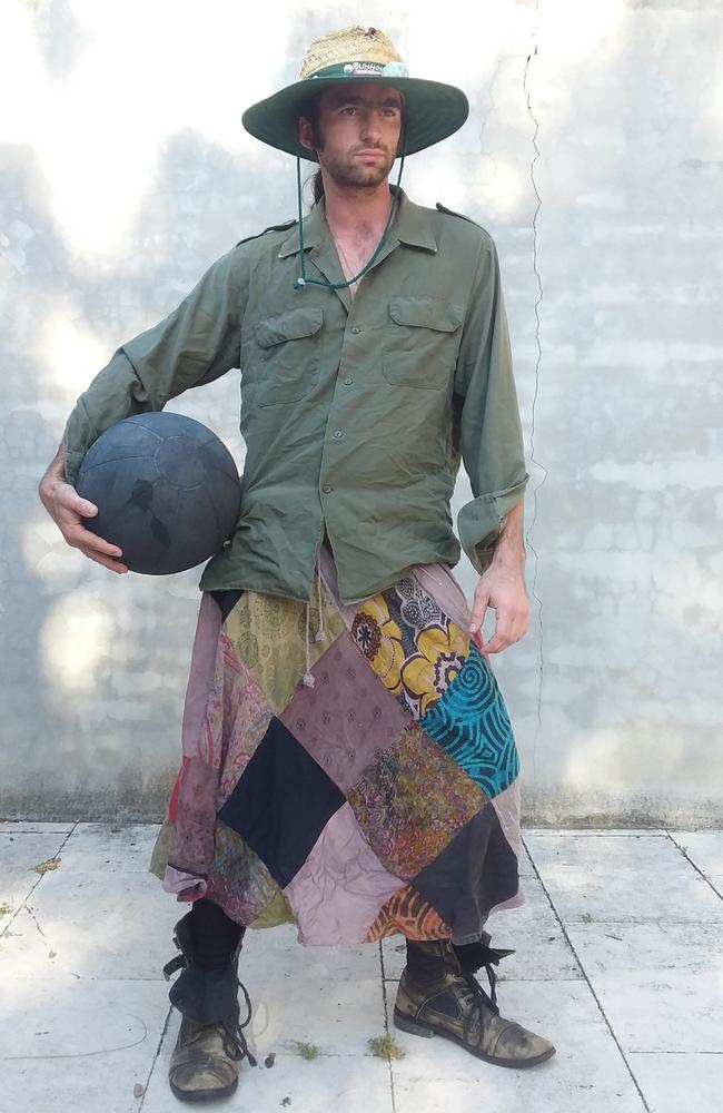 Jim, 29, hails from Sydney and is an avid wearer of the man-skirt, though he prefers the terms 'unipants' and 'crotch curtains' because they are less gender specific.
