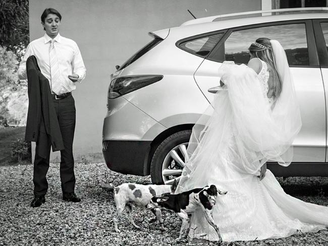This bride definitely didn't dream of having her wedding dress marked as territory by two dogs. Picture: VINICIUS MATOS / ISPWP / CATERS NEWS