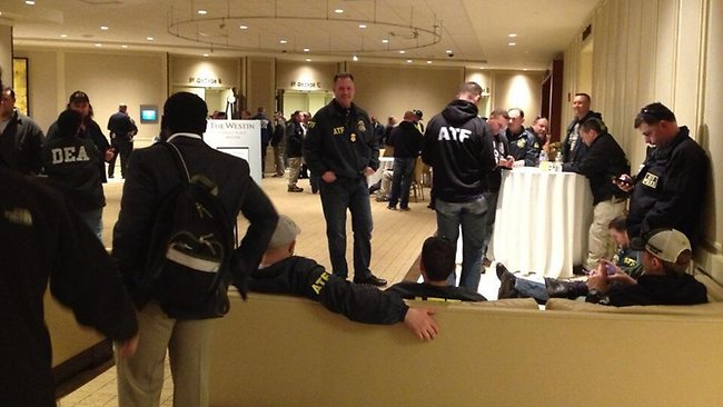 Investigative reporter Kathy Curran tweeted this photo of US law enforcement officials inside Westin Hotel in Boston. Picture: Kathy Curran/Twitter