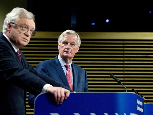 EU chief Brexit negotiator Michel Barnier, right, and British Secretary of State for Exiting the European Union David Davis during largely unproductive talks in Brussels this week. Picture: AP/Virginia Mayo