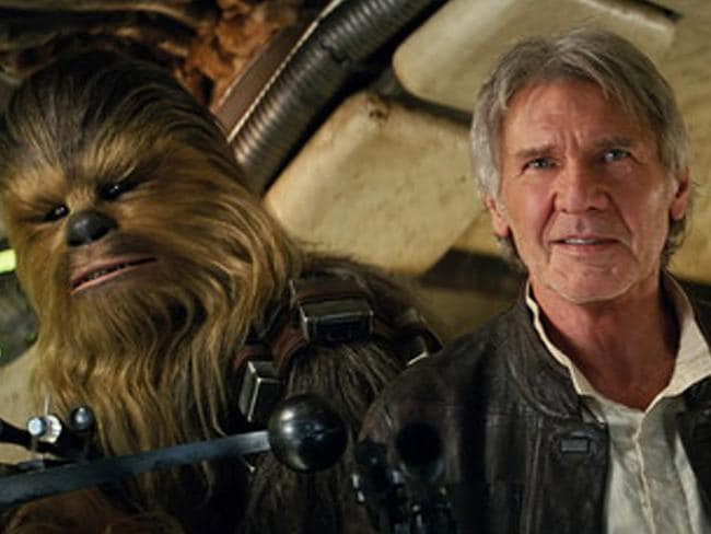 Reunited ... Peter Mayhew (Chewbacca) and Harrison Ford (Han Solo) reprise their roles in Star Wars: The Force Awakens. Picture: Film Frame/Lucasfilm via AP