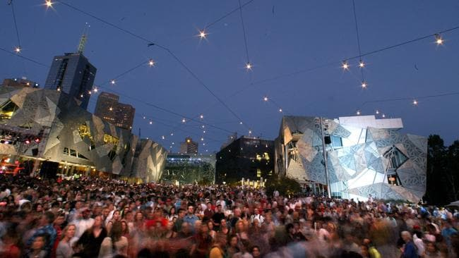 New Year's Eve revellers at Federation Square in 2013.