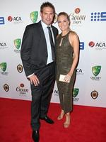 Ryan Harris and Cherie Harris on the red carpet arriving at the 2014 Allan Border Medal held at Doltone House at Hyde Park. Picture: Richard Dobson
