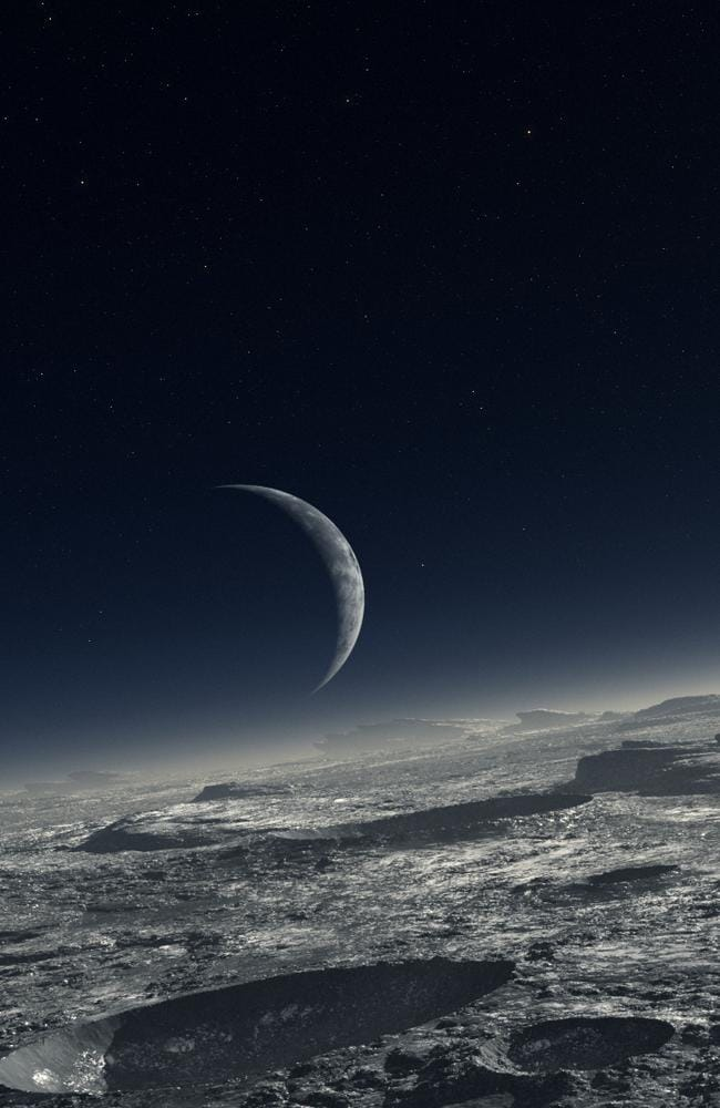 Lost wanderers ... This is a NASA-supplied artists impression of the surface of Pluto and its moon Charon. Now astronomers suspect two more planets lurk beyond the known edge of our solar system. Source: NASA