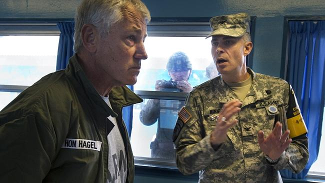 High stakes ... US Defence Secretary Chuck Hagel at the military border separating North and South Korea last September. Picture: AP