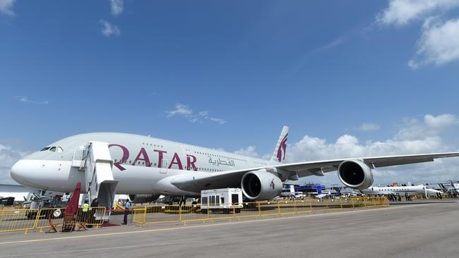 Big bird ... A Qatar Airways Airbus A380 which will operate out of Sydney from June. Picture: AFP/Roslan Rahman