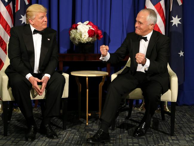 Prime Minister Malcolm Turnbull in his first face-to-face meeting with US President Donald Trump on the USS Intrepid. Picture: Nathan Edwards