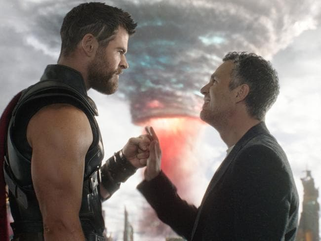 Chris Hemsworth and Mark Ruffalo in a scene from Thor: Ragnarok. Picture: Marvel Studios 2017