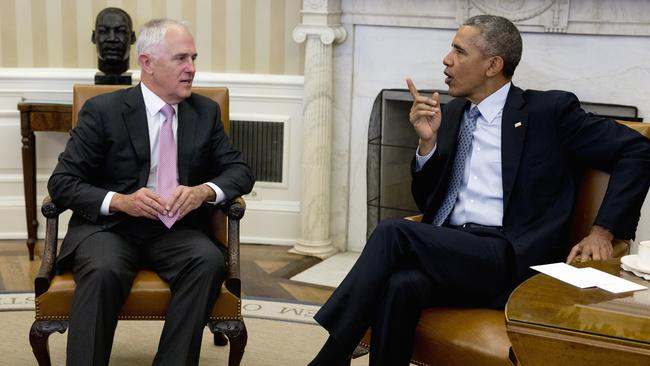 US President Barack Obama meets with Prime Minister Malcolm Turnbull in the Oval Office of the White House last month. Picture: AP Photo/Carolyn Kaster
