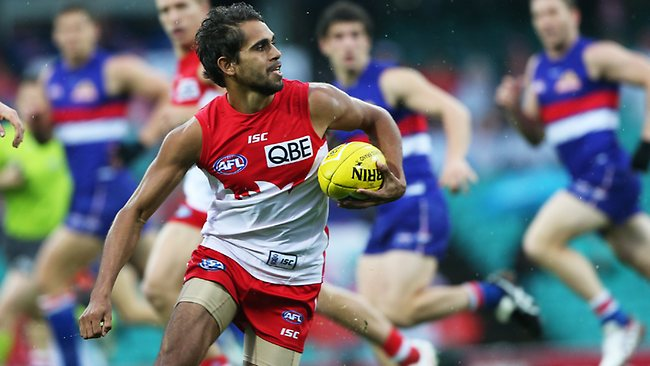 Lewis Jetta in action during the Sydney Swans v Western Bulldogs AFL game at the SCG in Sydney. Picture: Phil Hillyard