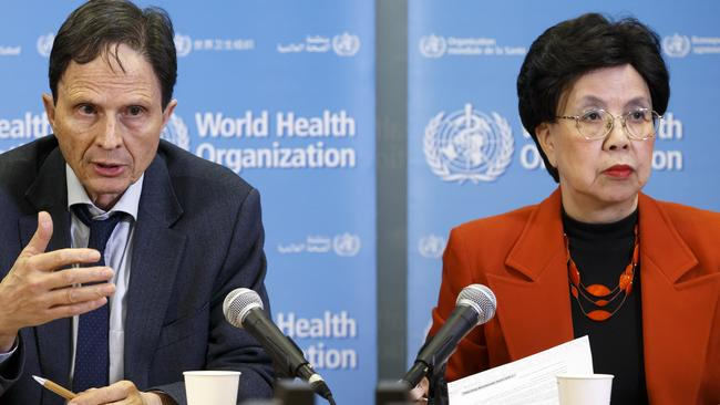 Professor David L Heymann, left, Chair of the Emergency Committee, sits next to China's Margaret Chan, right, General Director of the World Health Organisation, WHO declare the Zika outbreak an international emergency. Picture: Salvatore Di Nolfi/Keystone