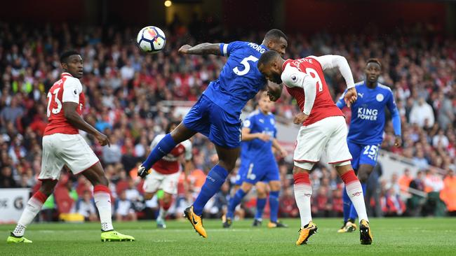 Alexandre Lacazette of Arsenal scores the opening goal.