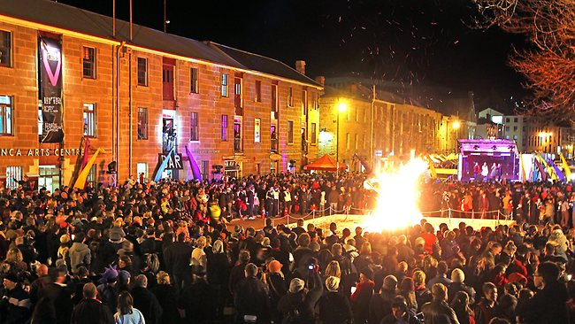Festival of Voices bonfire in Salamanca Place, corwds gather around the bonfire, Hobart. Picture: Sam Rosewarne